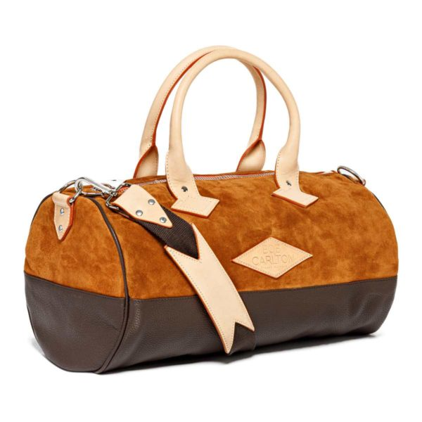 Overnight Leather travel bag color Chocolat Et Cuir Grainé Marine