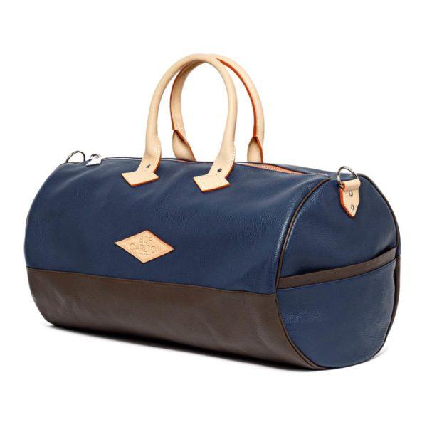Leather travel bag color marine et chocolat
