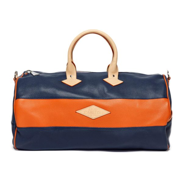 Leather travel bag color marine et orange vue de face