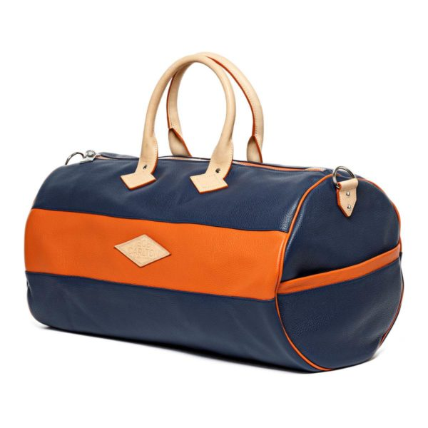 Leather travel bag color marine et orange