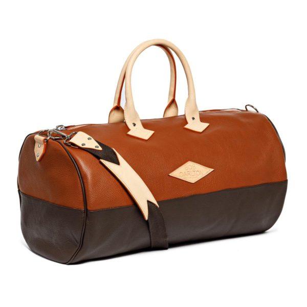 Sac de voyage cuir grainé couleur marron clair et chocolat bandoulière