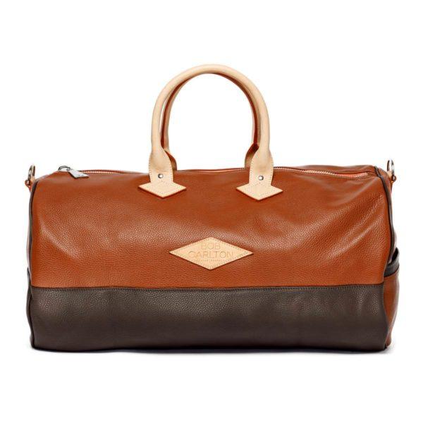 Leather travel bag color marron clair et chocolat