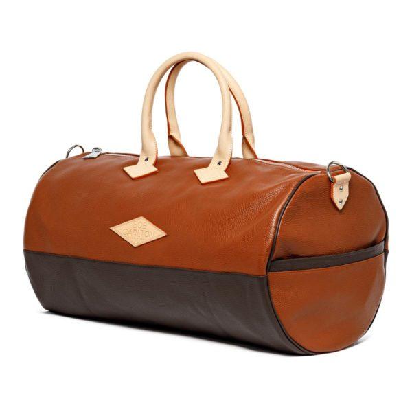 Sac de voyage cuir grainé couleur marron clair et chocolat vue de profil