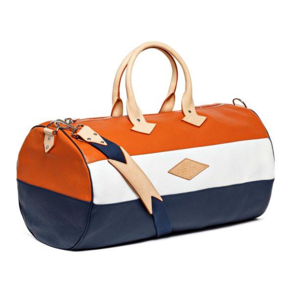 Sac de voyage cuir grainé couleur orange, blanc et marine bandoulière
