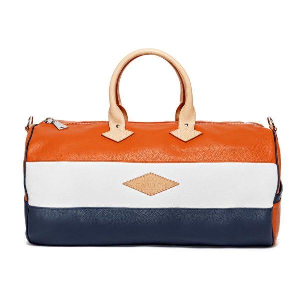 Sac de voyage cuir grainé couleur orange, blanc et marine vue de face
