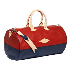 Leather travel bag color Rouge Et Bleu Marine Bandoulière