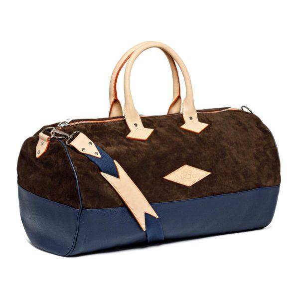 Leather travel bag color Velours Chocolat Et Cuir Grainé Marine