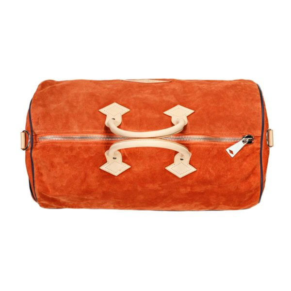travel bag Velours Orange Et Cuir Grainé Marine