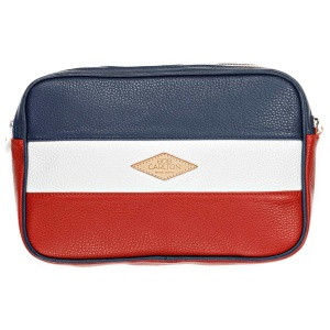 Leather pouches  Grainé Bleu Marine Blanc Rouge Vue De Face
