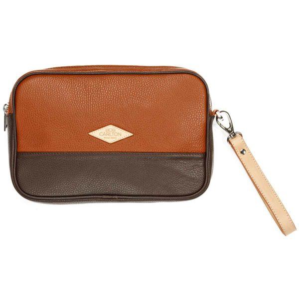 Leather pouches Grainé Marron Clair Et Chocolat