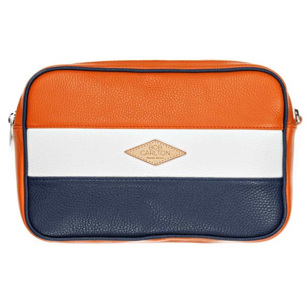 Leather pouches Grainé Orange Blanc Et Bleu Marine