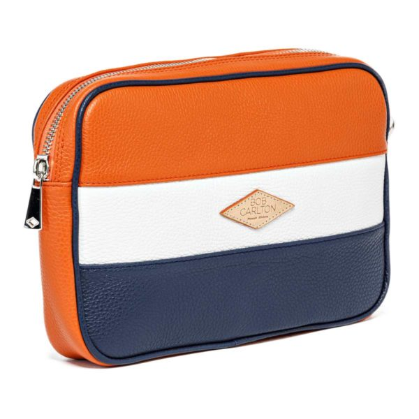 Leather pouches Grainé Orange Blanc Et Bleu Marine Vue De Profil
