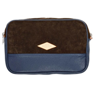 Leather pouches Chocolat Et Cuir Grainé Bleu Marine Vue De Face