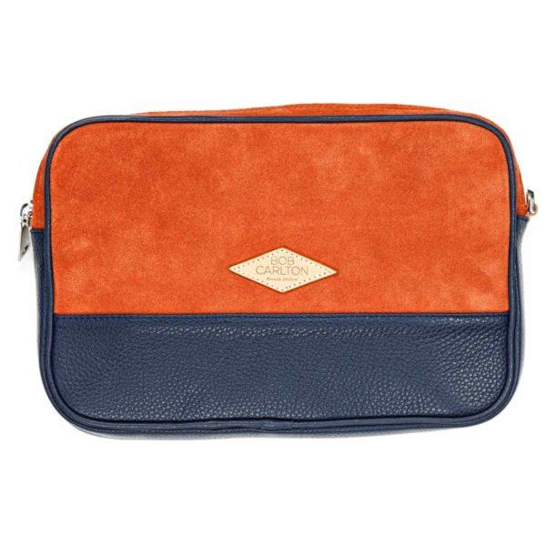 Pochette En Velours Orange Et Cuir Grainé Bleu Marine Vue De Face