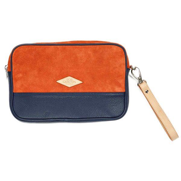 Leather pouches  Orange Et Cuir Grainé Bleu Marine