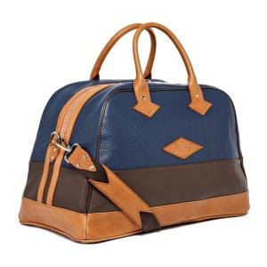Travel bag Monaco Bleu Marine Et Chocolat Vue Bandoulière