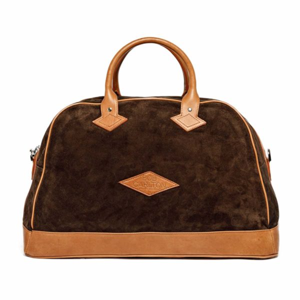 Travel bag Monaco Velours Chocolat Et Cuir Naturel